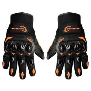 One Pair Cyclegear CG666 One-touch Breathable Wearable Full Finger Protective Outdoor Motorcycle Gloves  Size: L(Black+Orange)