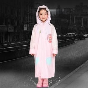 Leeftijd 3-12 kinderen herbruikbare regenjas Hooded met schooltas Cover  zakken  kap en mouwen (roze S)