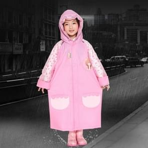 Age 3-12 Kids Reusable Raincoat Hooded With School Bag Cover  Pockets  Hood  And Sleeves(Rose Red L)