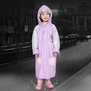 Age 3-12 Kids Reusable Raincoat Hooded With School Bag Cover  Pockets  Hood  And Sleeves(Purple XL)