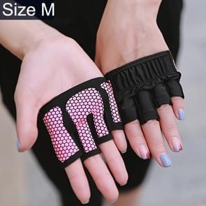 Halve vinger yoga handschoenen anti-slip sport Gym Palm beschermer  maat: M  Palm omtrek: 18cm (Rose rood)