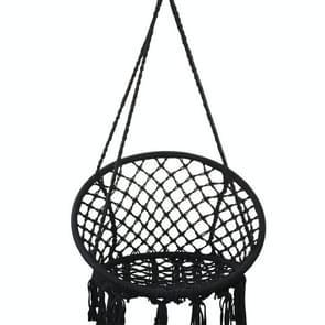 Indoor Single Cotton Rope Geweven swing stoel (Zwart)
