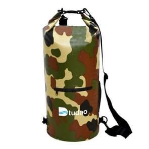 Dtudao buiten waterdichte droge tas Dry Sack met dubbele schouderriem & fles houder  capaciteit: 20L (leger-groen)