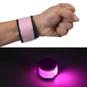 LED Luminous Slap Pat Circle Outdoors sports Wristband  Large  Size:35*4cm(Pink)