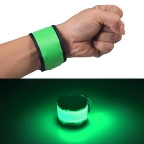 LED Luminous Slap Pat Circle Outdoors sports Wristband  Large  Size:35*4cm(Green)
