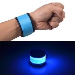 LED Luminous Slap Pat Circle Outdoors sports Wristband  Small  Size:26*4cm(Blue)