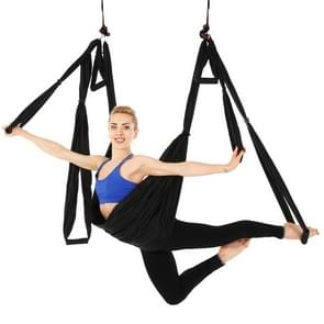 6 behandelt bodybuilding hand stand inelasticiteit luchtfoto yoga hangmat (zwart)