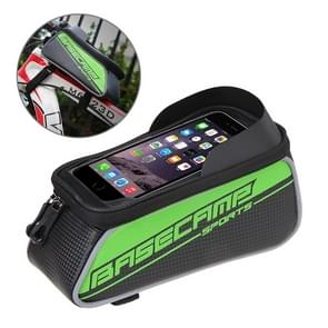 BaseCamp BC-302 Bicycle Phone Bags Mountain Road Bike Front Head Top Frame Handlebar Bag with Transparent Window & Sun Visor for 15*8cm and Below Smartphones  Big Size(Green)