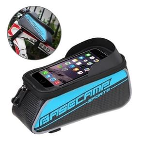 BaseCamp BC-302 Bicycle Phone Bags Mountain Road Bike Front Head Top Frame Handlebar Bag with Transparent Window & Sun Visor for 15*8cm and Below Smartphones  Big Size(Blue)