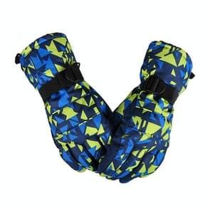 Een paar beschermende Unisex skiën paardrijden Winter Outdoor sporten verdikt Spatwaterdichte winddicht warme handschoenen  maat: M (gele & blauwe puzzel)