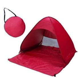 Foldable Free to Build Automatic Quick Speed Open Outdoor Camping Beach Tent with Carrying Bag for 2 Adult or 3 Children Use  Size: 1.65x1.5x1.1m (Red)
