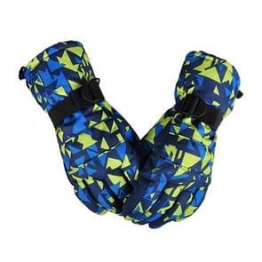 Een paar beschermende Unisex skiën paardrijden Winter Outdoor sporten verdikt Spatwaterdichte winddicht warme handschoenen  maat: L (gele & blauwe puzzel)