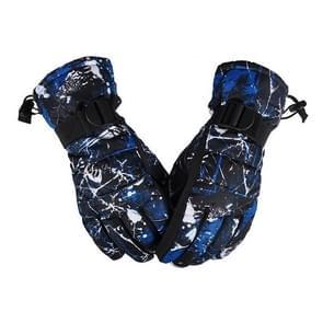 Een paar beschermende Unisex skiën paardrijden Winter Outdoor sporten verdikt Spatwaterdichte winddicht warme handschoenen  maat: XL (zwarte & blauwe Graffiti)