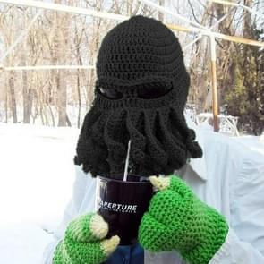 Amurleopard Unisex Barbarian Knit Beanie Octopus Tentacle Cap Winter Warm Face Mask Crochet Hat(Black)