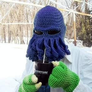Amurleopard Unisex Barbarian Knit Beanie Octopus Tentacle Cap Winter Warm Face Mask Crochet Hat(Dark Blue)