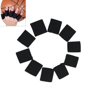 10 PCS Elastic Polyester Sports Finger Support Guards  Afmeting: 3.5 x 3cm (zwart)