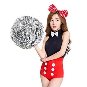 10 PCS Square Dance Aerobics Cheerleading Ball Hand Flower Bouquet  Ribbon Length: 28cm(Silver)