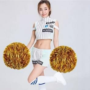 10 PCS Square Dance Aerobics Cheerleading Ball Hand Flower Bouquet  Ribbon Length: 30cm(Gold)