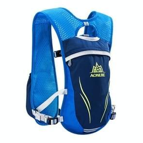 AONIJIE langlaufen buiten rijden Unisex rugzakken lichtgewicht Marathon waterfles ademend Vest  grootte: L(Blue)