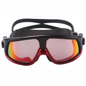 Colorful Large Frame Electroplating Anti-fog Silicone Swimming Goggles for Adults (Red + Black)
