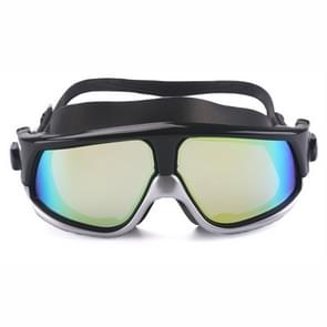 Colorful Large Frame Electroplating Anti-fog Silicone Swimming Goggles for Adults (Silver + Black)