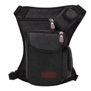 Multifunction Canvas Messenger Mobile Phone Bags Travel Crossbody Shoulder Waist Bag  Size: 31x24x5cm(Black)