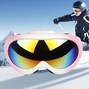 H006 Dual Layers Anti-fog Windprooof UV Protection Children Goggles with Adjustable Widened Strap (Pink+White)
