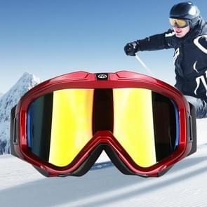 H007 Unisex Buckle Style Dual Layers Anti-fog Windprooof UV Protection Goggles with Adjustable Widened Strap (Red+Black)