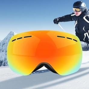 H008 Unisex Dual lagen weids uitzicht bijziendheid vriendelijke anti-mist Windprooof UV bescherming sferische bril met verstelbare riem (Neon geel)