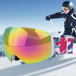 H011 Unisex Dual lagen weids uitzicht anti-mist Windprooof UV bescherming sferische bril met verstelbare riem (rood + kleurrijke)
