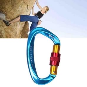 Professional Climbing D-shaped Master Lock Carabiner Safety Buckle Outdoor Climbing Equipment Supplies (Blue)