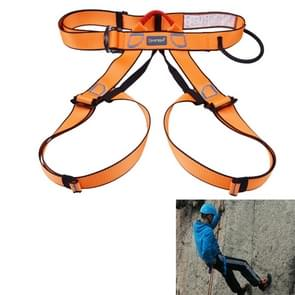 Climbing Harness Safe Seat Belt for Rock High Level Caving Climbing Adjustable Rappelling Equipment Half Body Guard Protect(Orange)