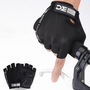 BaseCamp BC-204 Fiets Half Finger Handschoenen Lycra Fabric fietshandschoenen  maat: L(Zwart)