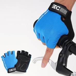 BaseCamp BC-204 Fiets Half Finger Handschoenen Lycra Fabric fietshandschoenen  maat: L(Blauw)