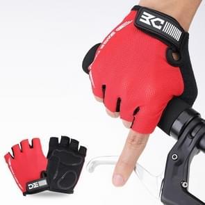 BaseCamp BC-204 Fiets Half Finger Handschoenen Lycra Fabric fietshandschoenen  maat: L(Rood)