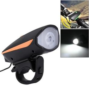 125 / 250LM 3 Modes USB Rechargeable LED Bright Light with Horn & Handlebar Mount(Orange)