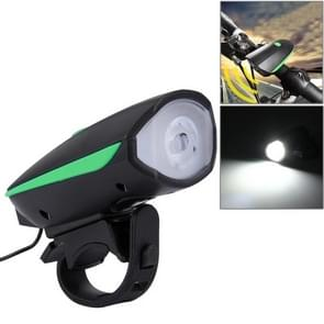 125 / 250LM 3 Modes USB Rechargeable LED Bright Light with Horn & Handlebar Mount(Green)