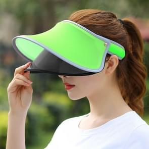 Outdoor Double Layer Female Topless Wide Brim Hat(Fluorescent Green Light)
