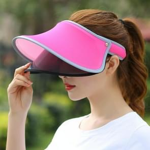 Outdoor Double Layer Female Topless Wide Brim Hat(Magenta)