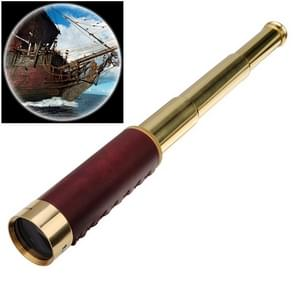 25x30 Portable Pirate Monocular Professional Vision Monocular Telescope with Leather Bag (Gold)