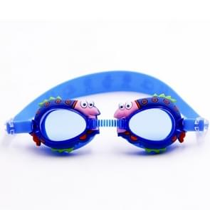 Cartoon Shark Pattern Anti-fog Silicone Swimming Goggles with Ear Plugs for Children(Blue)