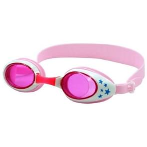 Star Pattern Anti-fog Silicone Swimming Goggles with Ear Plugs for Children(Pink)