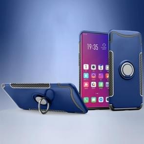 Magnetische 360 graden rotatie ring houder Armor beschermende case voor OPPO Find X (Sapphire Blue)