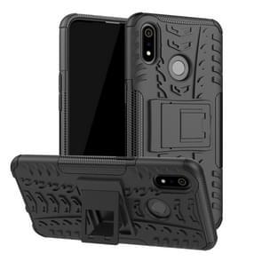 Tire Texture TPU + PC schokbestendig geval voor OPPO Realme 3  met houder (zwart)