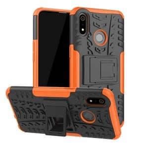 Tire Texture TPU + PC schokbestendig geval voor OPPO Realme 3  met houder (Orange)