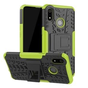 Tire Texture TPU + PC schokbestendig geval voor OPPO Realme 3  met houder (groen)