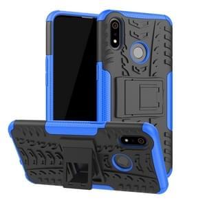 Tire Texture TPU + PC schokbestendig geval voor OPPO Realme 3  met houder (blauw)