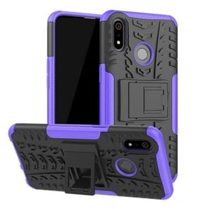 Band textuur TPU + PC schokbestendig geval voor OPPO Realme 3  met houder (paars)