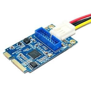 MINI PCI-E USB 3.0 Front 19 Pin Desktop PC uitbreidingskaart met 4 Pin verbinding voedingspoort (blauw)