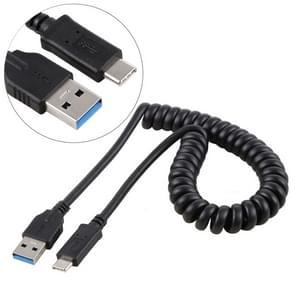 1 5 m hoge snelheid USB 3.0 Male naar USB-C / Type-C Male intrekbare voorjaar verlengkabel